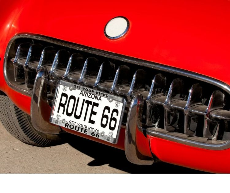 Arizona Route 66 license plate on red car