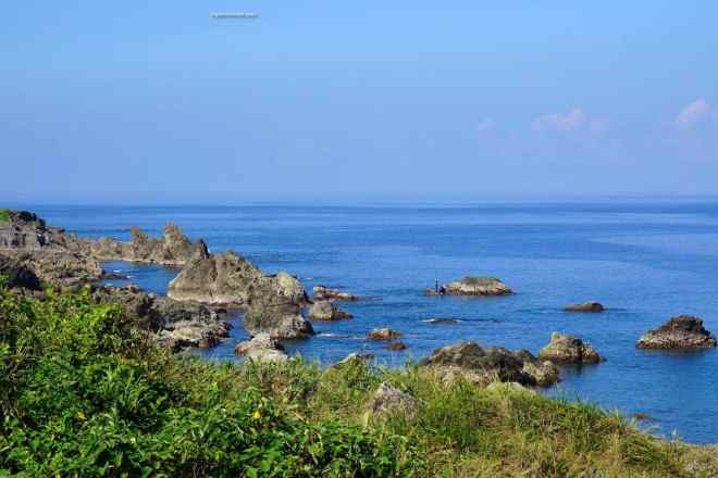 Rugged coral reefs and volcanic rock along the beaches of Taitung County Taiwan
