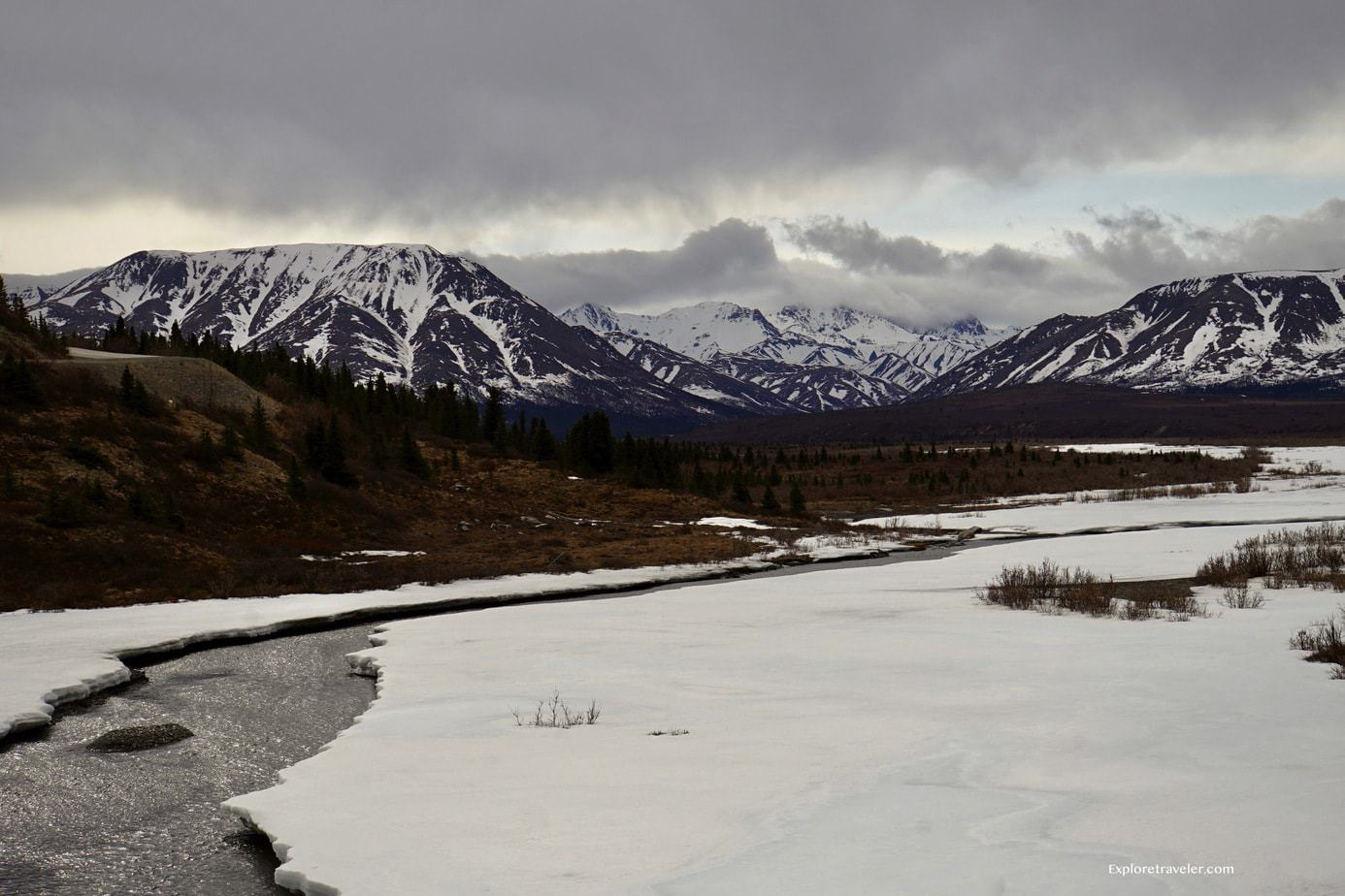 The spring thaw of the River and mountains Denali National Park