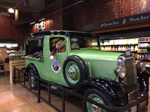 Green truck displayed at Chuck's Grocery