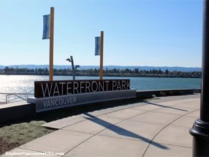 Wancouver Wa waterfront park looking over Columbia River