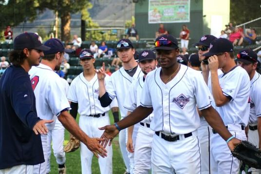 It's all about the team. Credit: Gabe Mercer, Wenatchee AppleSox. Used with permission.