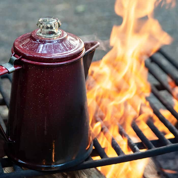 Coffee Pot on campfire. Camping in Washington State
