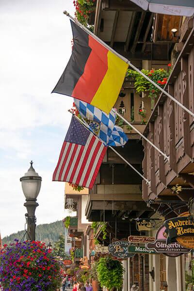 Leavenworth Flags flying from buildings