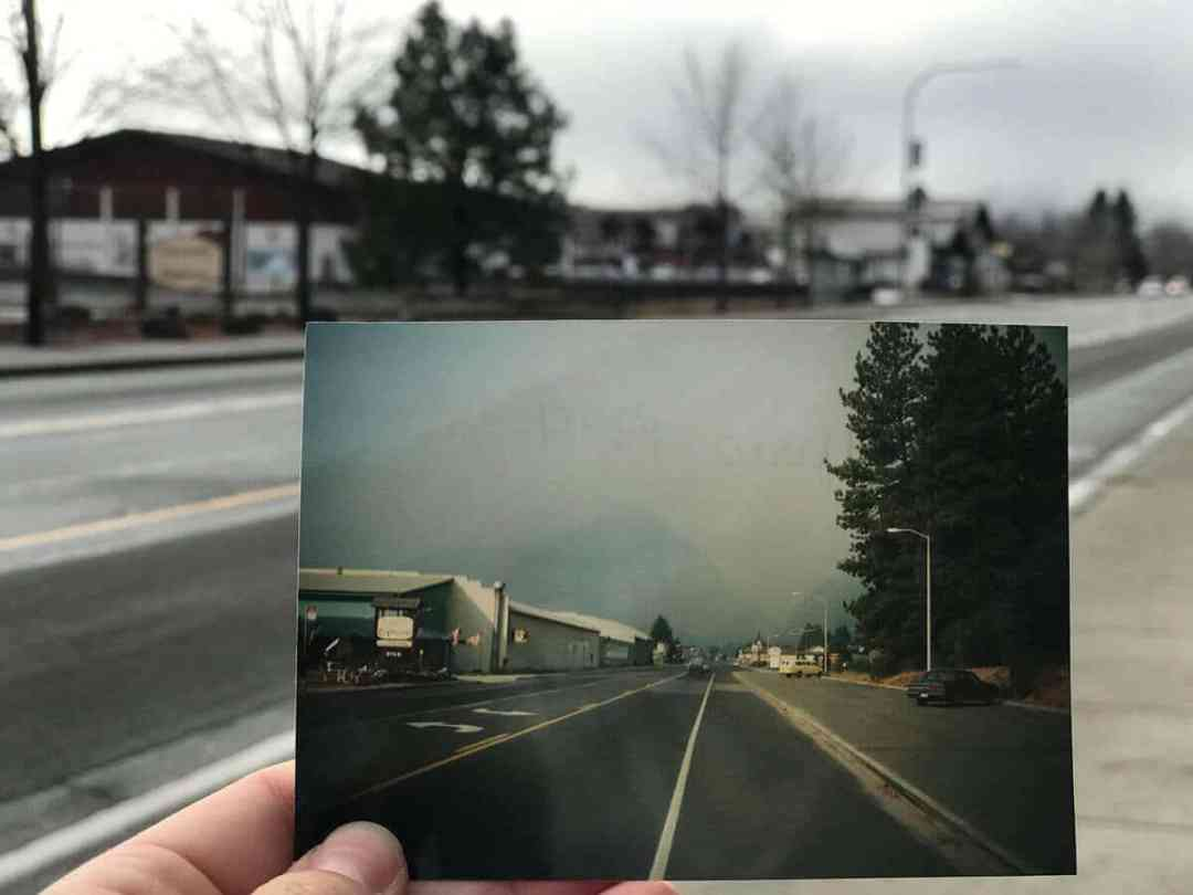 Live in Leavenworth two pictures of same place today and in the past.