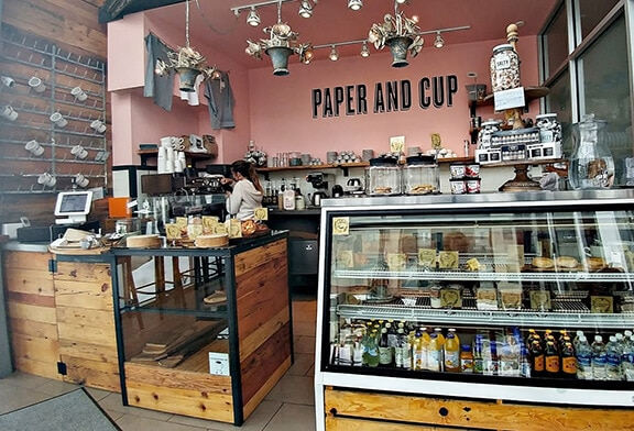 Paper & Cup Spokane Coffee Shop View of counter and cooler