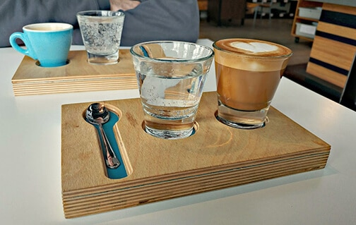 Revell 77 Spokane Coffee Shop Coffee and water in wooden tray