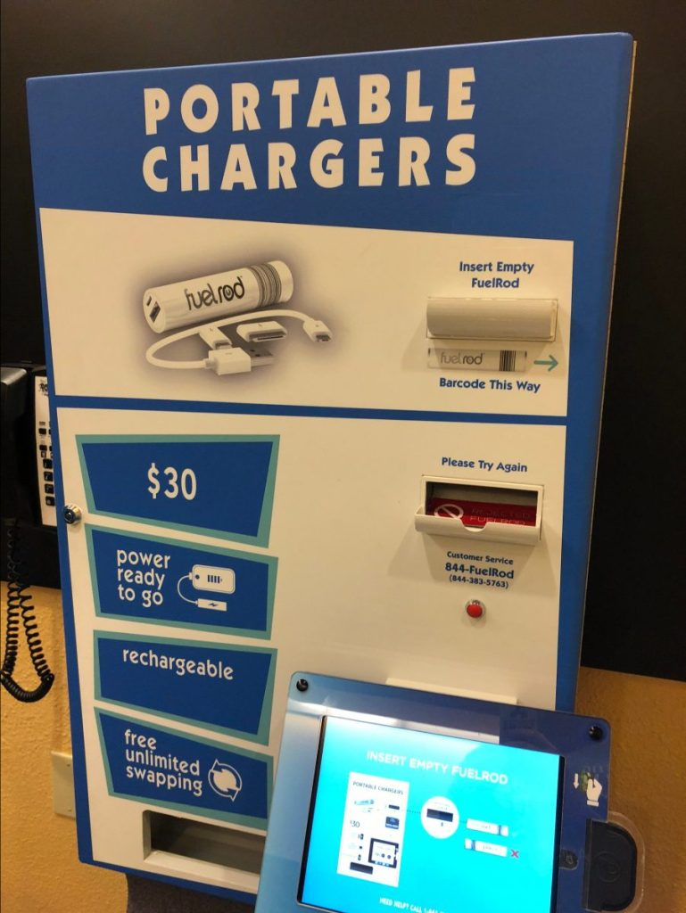 FuelRod Portable Charger machine inside of Disney's Pop Century