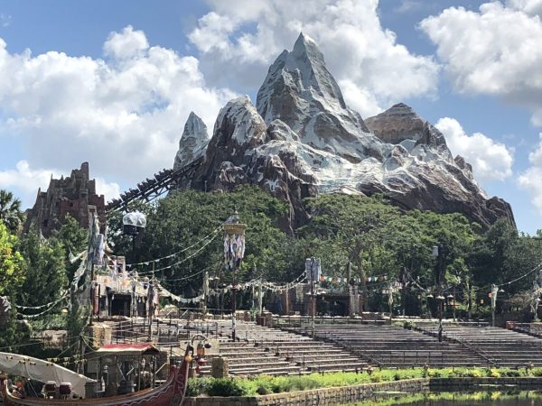 The Forbidden Mountain carrying Guests up the mountain on Expedition Everest in Animal Kingdom