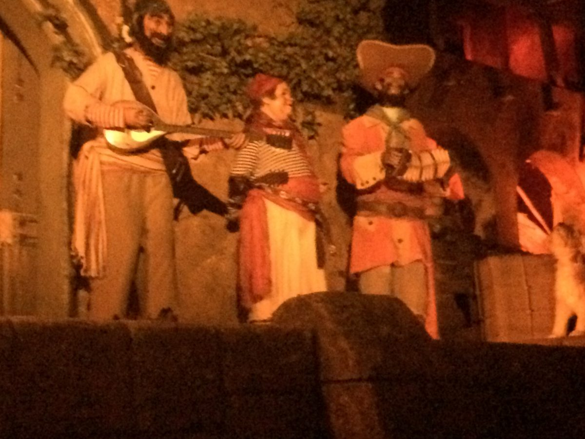 Pirates singing inside the Pirates of the Caribbean Ride in Magic Kingdom