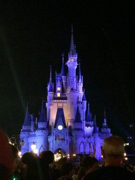 Cinderella Castle at night in Disney's Magic Kingdom