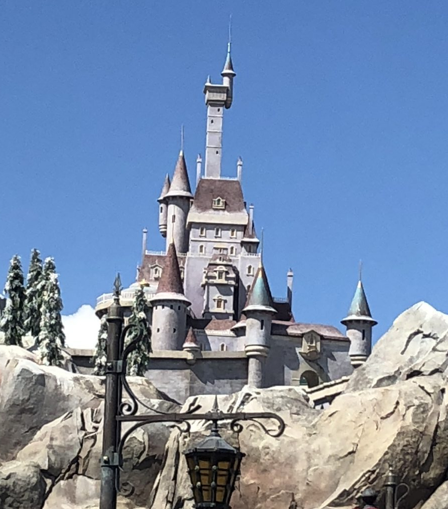 The Beast's Castle seen above the Be Our Guest Restaurant in the Magic Kingdom