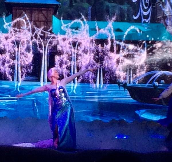 Elsa singing Let It Go during the Frozen Sing-a-long show at Walt Disney World.