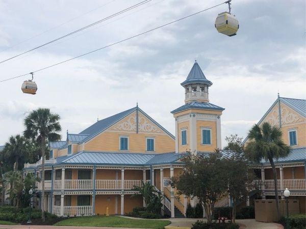 The Disney Skyliner passing over the Caribbean Beach Resort