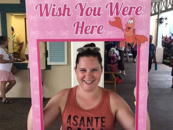 """Wish You Were Here"" photo opportunity at Disney's Caribbean Beach Resort"