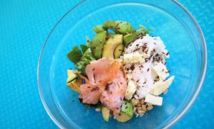 Smoked salmon with avocado and poached eggs