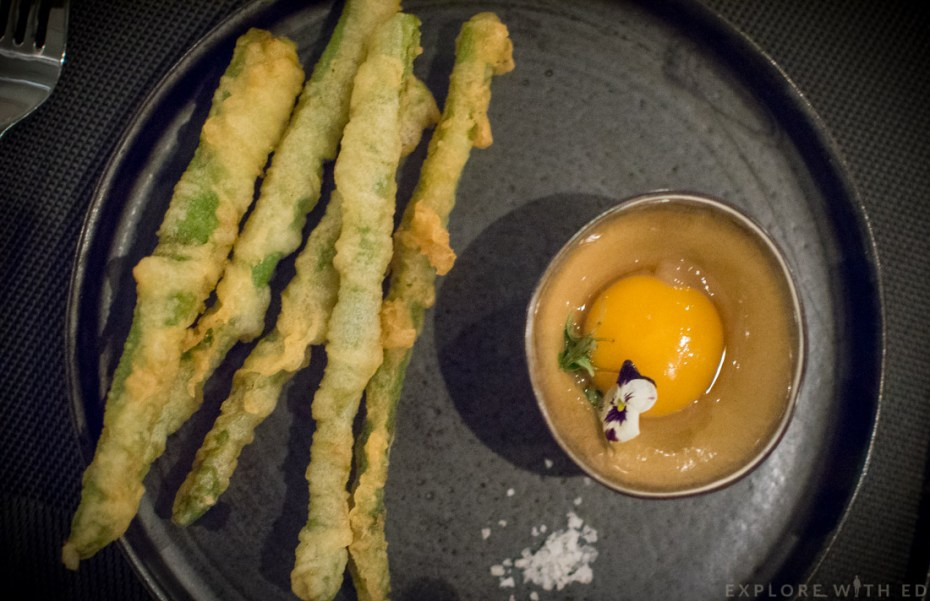 Asparagus Tempura, 65 degrees egg