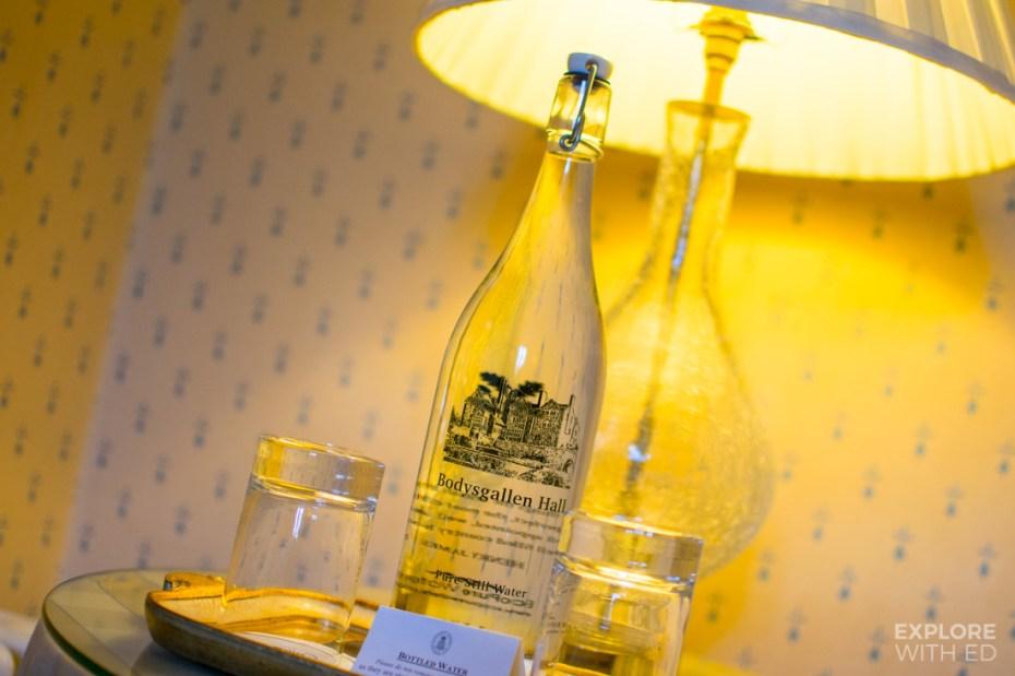 Bodysgallen Hotel Review, Pure still glass water bottle