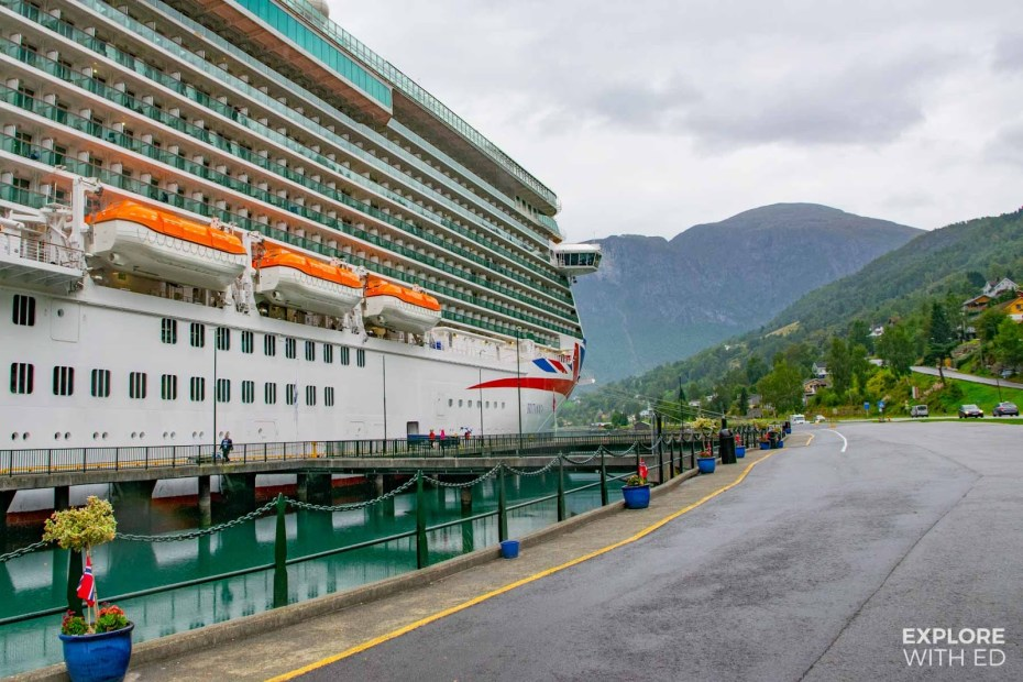 P&O cruise ship Britannia docked in Olden on a Norwegian Fjords cruise