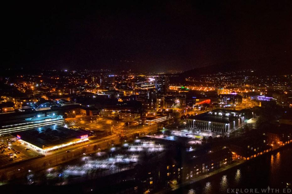 Long exposure night time view of Swansea