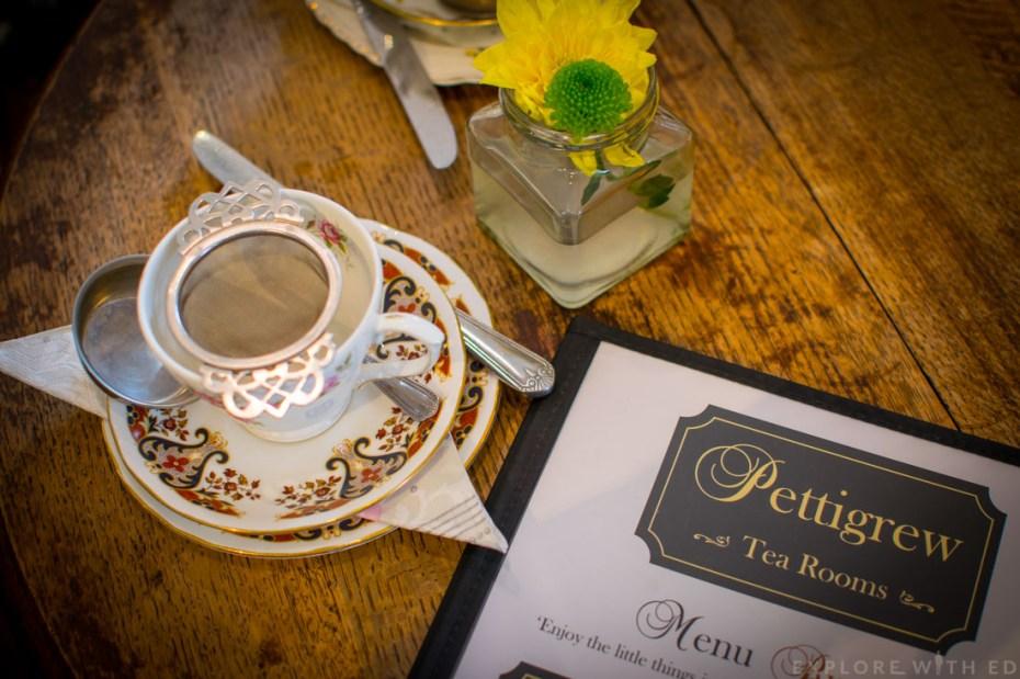 Pettigrew tea rooms tea cup and menu