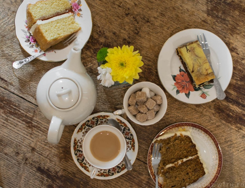 Tea and cake in Pettigrew Tea Rooms Cardiff