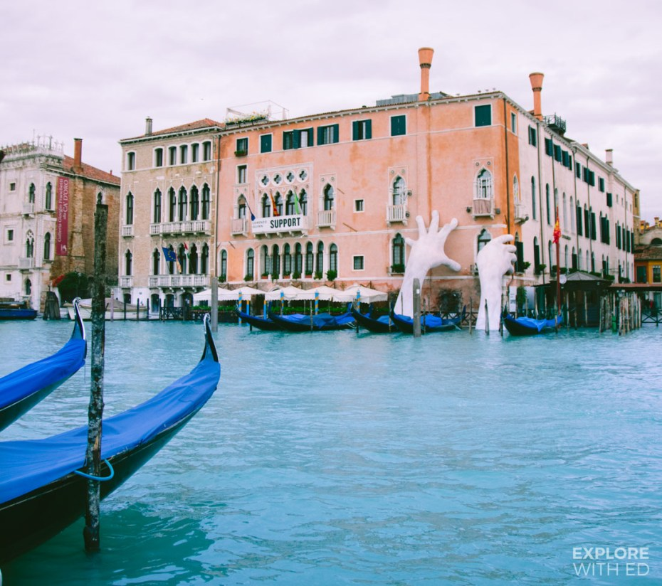 Support by Lorenzo Quinn on Venice's Grand Canal