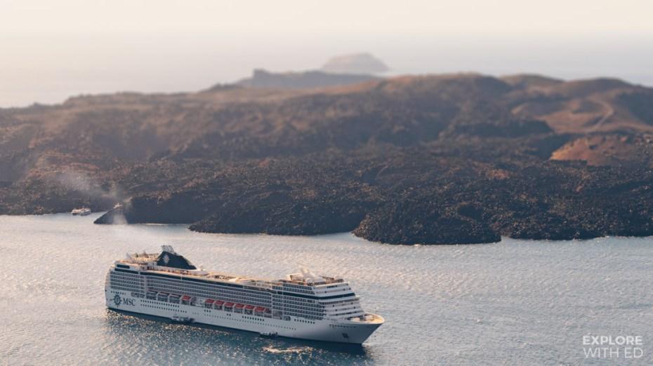 MSC Cruise anchored in Santorini Greece