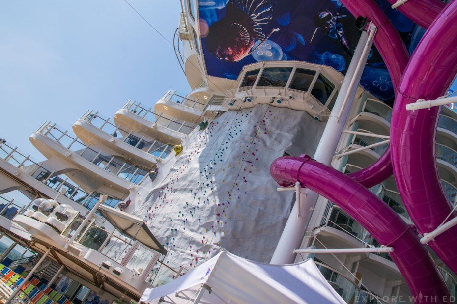 The Ultimate Abyss Slide, Rock climbing wall, Harmony of the Seas