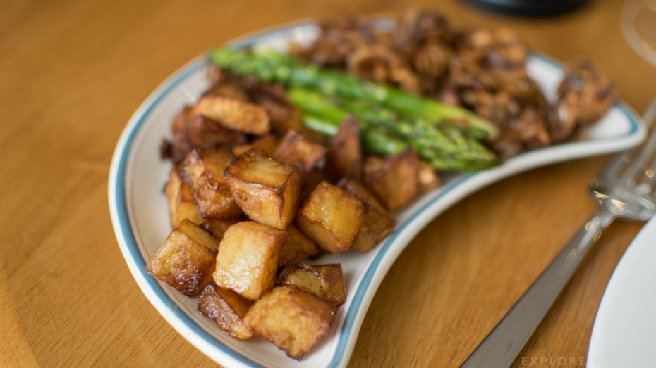 Diced potatoes, side plate, Scholar Restaurant review