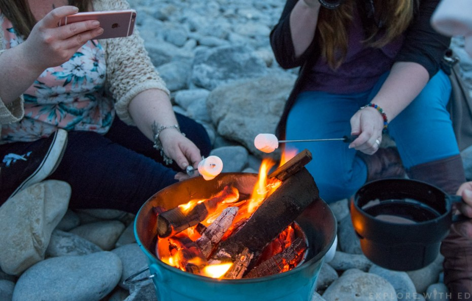 Toasting marshmallows, Travel Bloggers