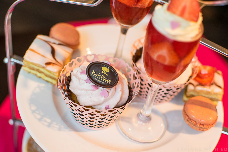 Park Plaza Cardiff Pink Afternoon Tea, Pink Cupcakes, Champagne Jelly, Mille feuille, French pastries, macaroons