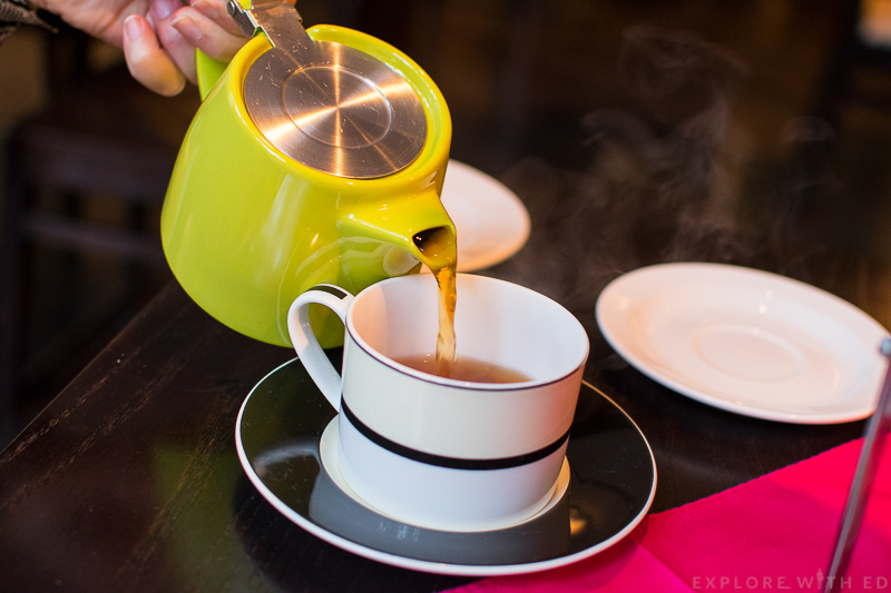 Pouring a cup of English Breakfast Tea