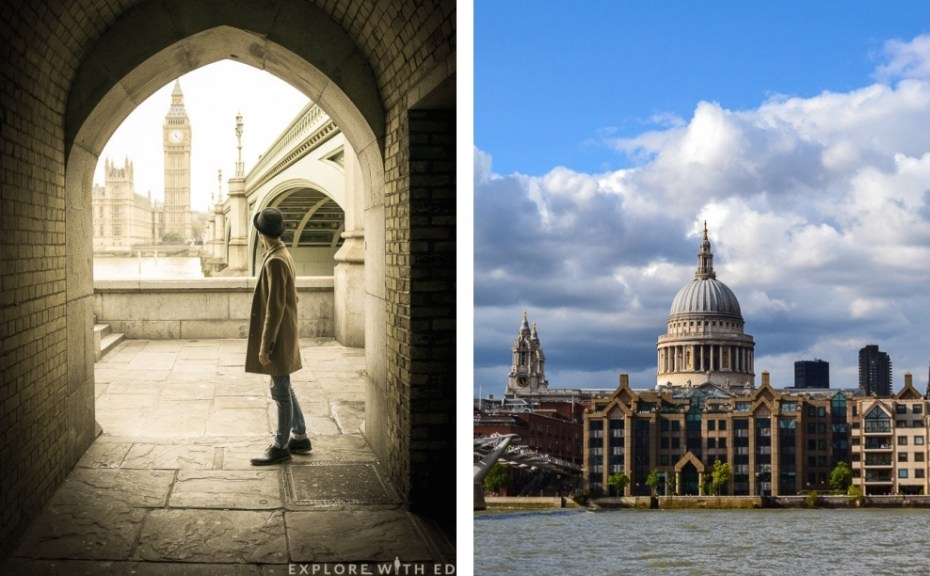 Arched view of Big Ben and St Paul's Cathedral