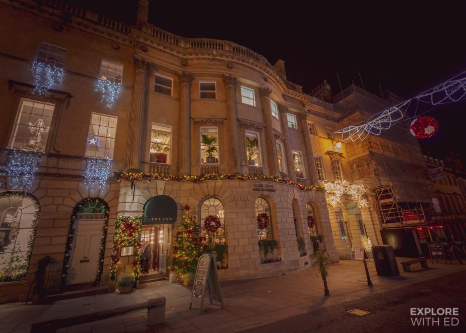 Festive exterior of The Ivy Bath Brasserie on Milsom Street