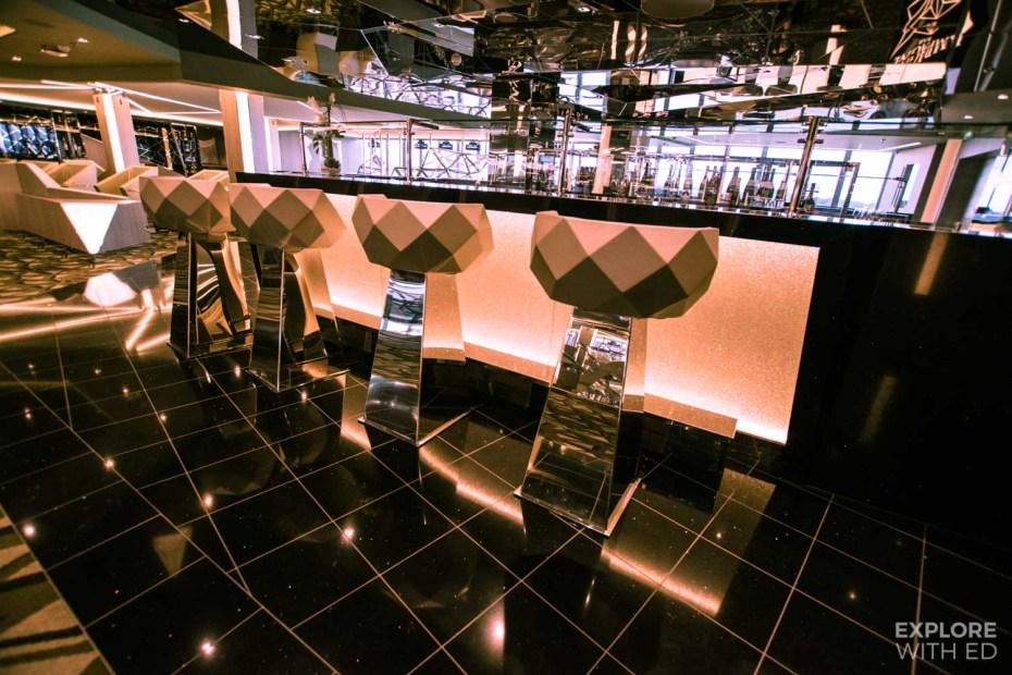 Glitzy bar area on MSC Cruises