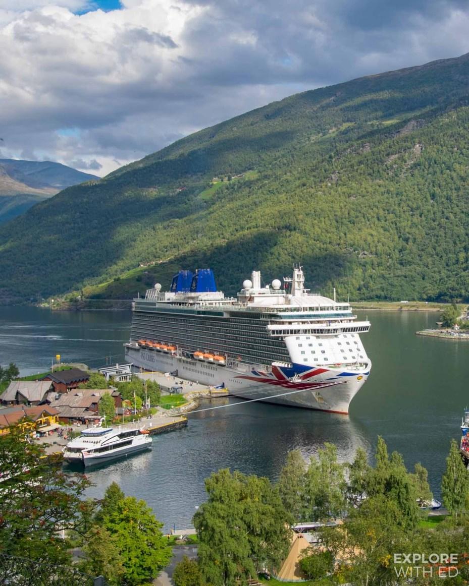 P&O Cruises Britannia docked in Flam, Norway