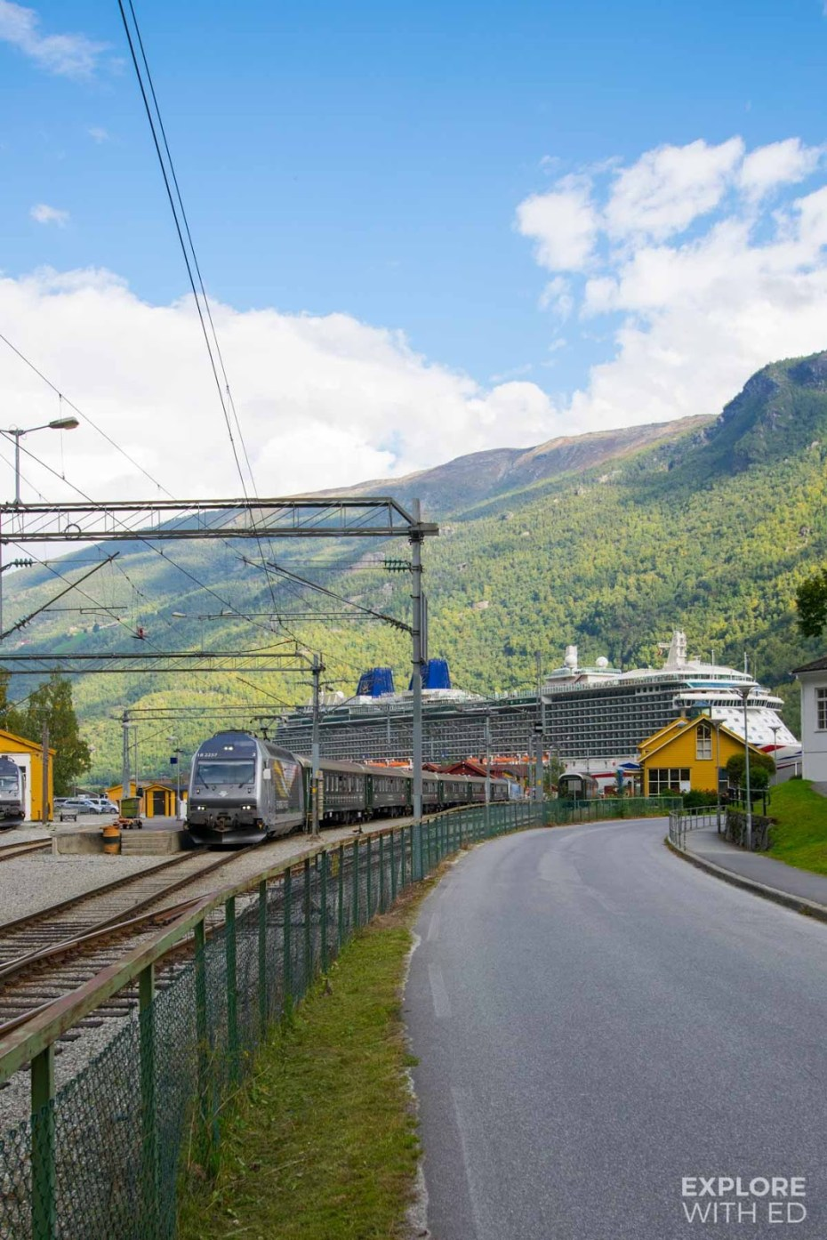 The Flam railway station showing proximity to cruise ship