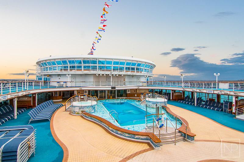 Pool area onboard Emerald Princess