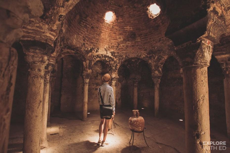 Inside the Arab Baths in Palma de Mallorca, Spain