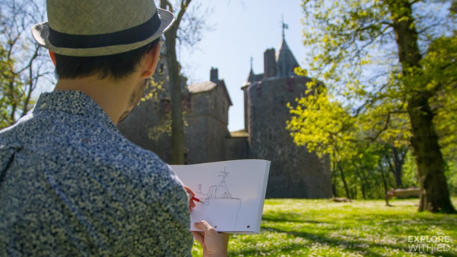 Drawing Castell Coch in Wales