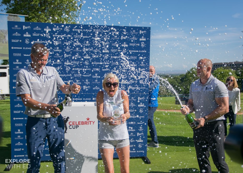 Champagne celebration for Team England at The Celebrity Cup 2017
