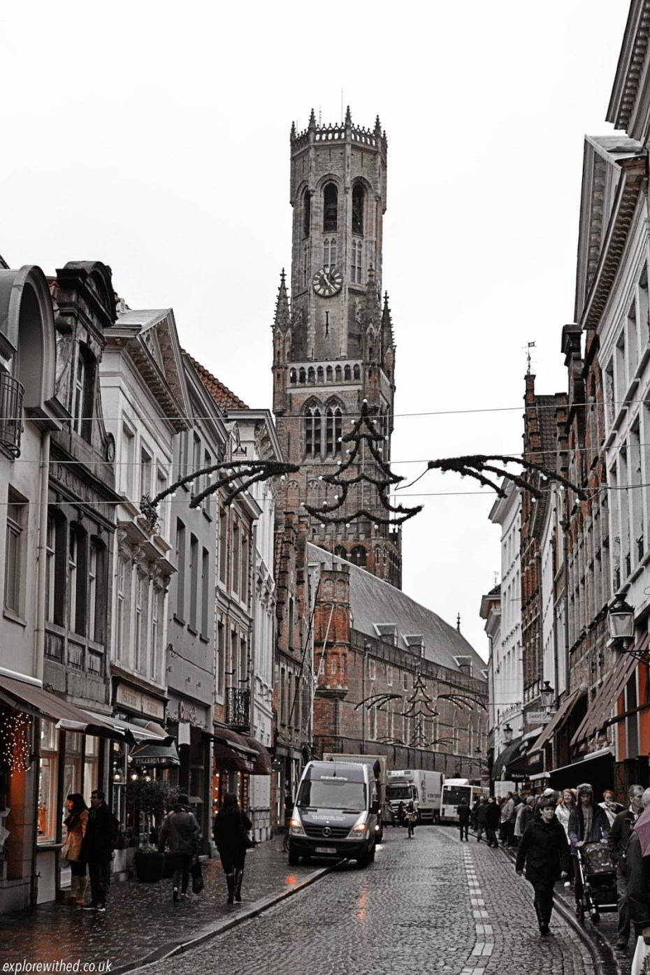 Typical street in Bruges during Christmastime