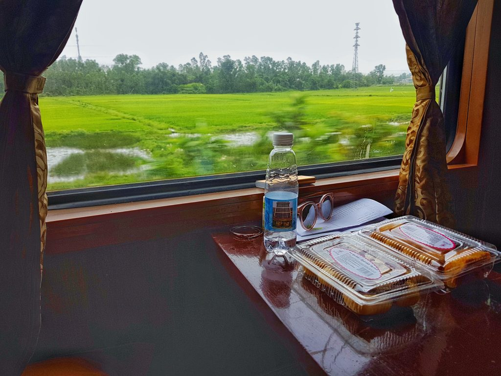 Vietnam Overnight Train - food and view