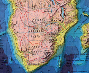 Physical Map of Southern Africa     Exploring Africa Physical Map of Southern Africa