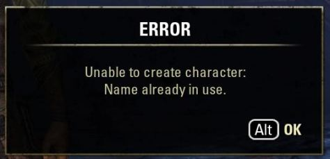 Exploring the ESO, Unable to create character, name in use