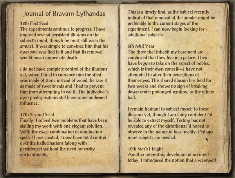The Books of the Elder Scrolls Online - Journal of Bravam Lythanda