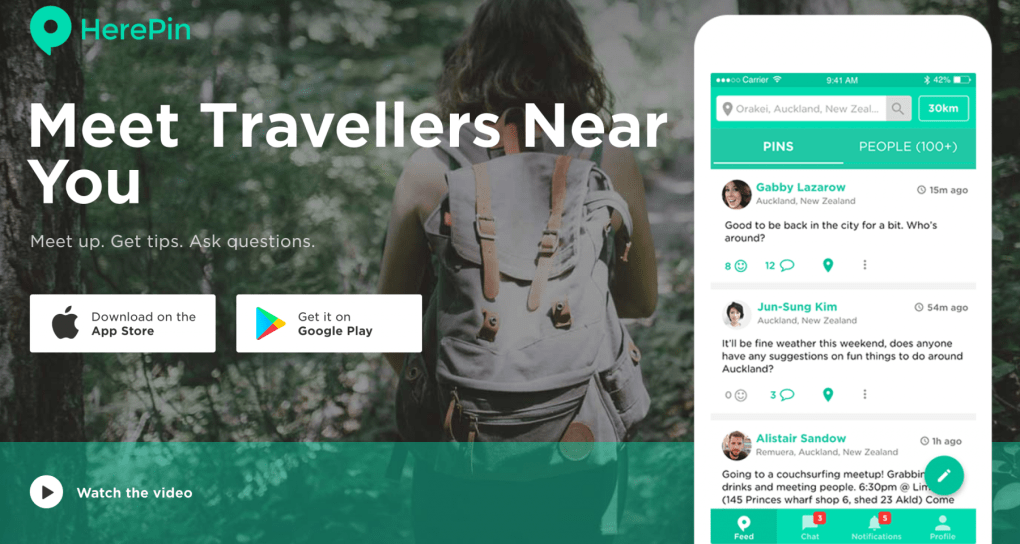 HerePin travel app