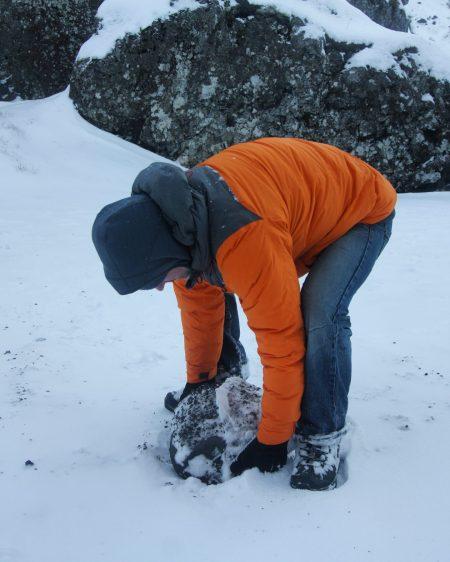 Snæfellsnes Peninsula Moonwalker Tours Iceland Dritvik Djúpalónssandur Nathan lifting rocks