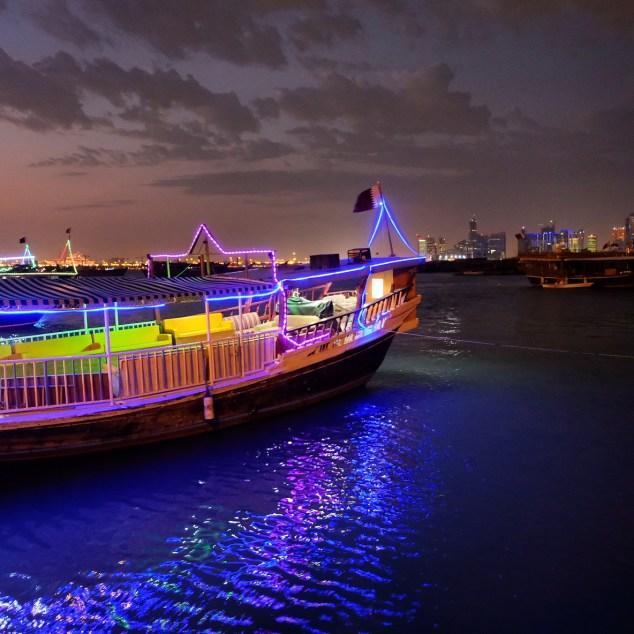 Doha Corniche nighttime city lights